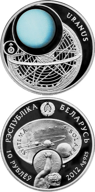 Image of 10 rubles coin - Uranus | Belarus 2012.  The Silver coin is of Proof quality.