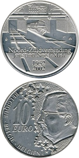 Image of 50 years North South Connection in Brussels – 10 euro coin Belgium 2002.  The Silver coin is of Proof quality.