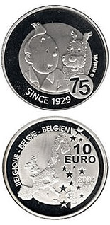 Image of 10 euro coin – 75 years Tintin et Milou | Belgium 2004.  The Silver coin is of Proof quality.