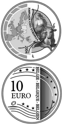Image of 10 euro coin – Enlargement of the European Union | Belgium 2004.  The Silver coin is of Proof quality.