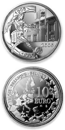 Image of 10 euro coin 75 years Heysel Stadium / 100 years International Football matches the Netherlands - Belgium | Belgium 2005.  The Silver coin is of Proof quality.