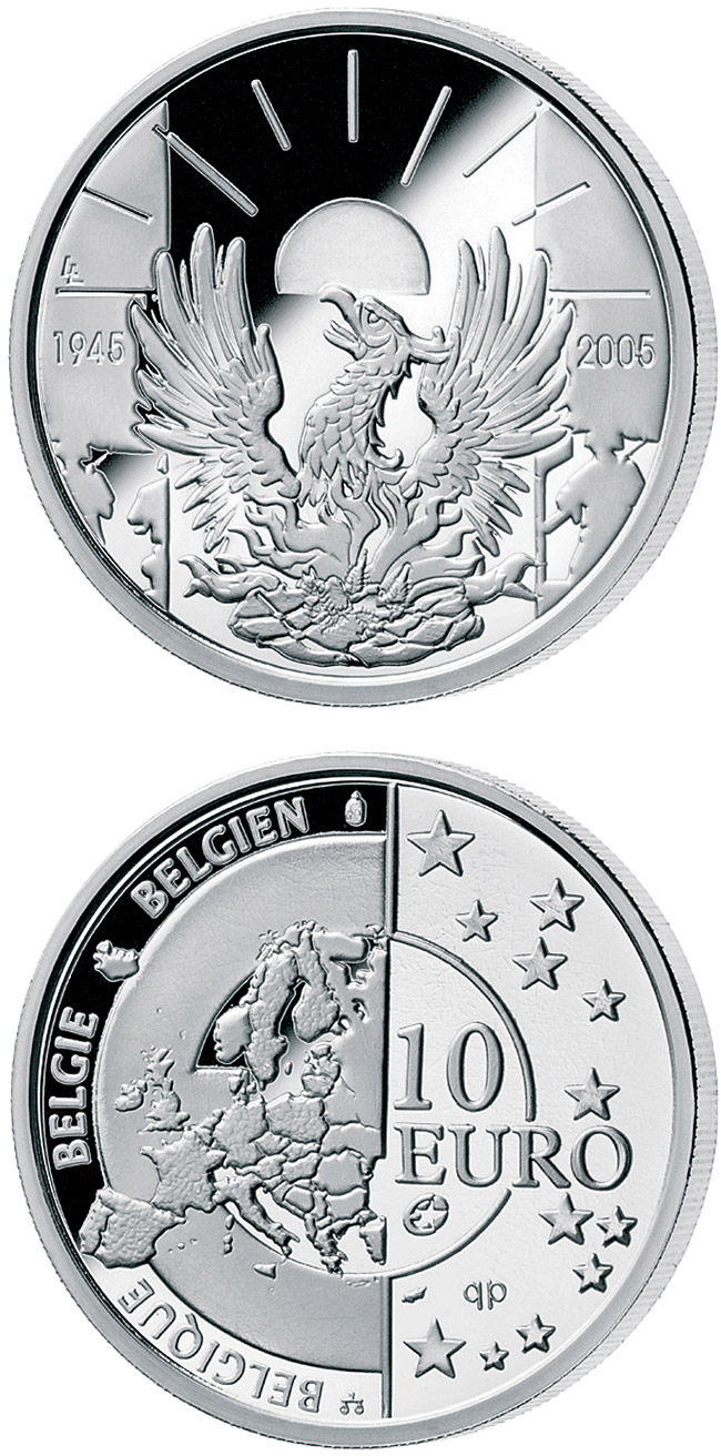 Image of 60 years Peace and Freedom – 10 euro coin Belgium 2005.  The Silver coin is of Proof quality.