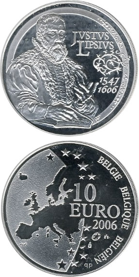 Image of 10 euro coin - 400. anniversary of the death Justus Lipsius | Belgium 2006.  The Silver coin is of Proof quality.