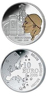 Image of 50th Anniversary of the Mining disaster in Marcinelle - colored  – 10 euro coin Belgium 2006.  The Silver coin is of Proof quality.