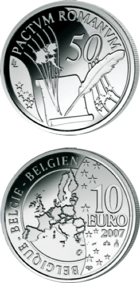 Image of 10 euro coin – 50 Years Treaty of Rome | Belgium 2007.  The Silver coin is of Proof quality.