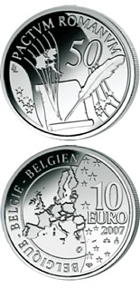 10 crowns 50 Years Treaty of Rome - 2007 - Series: European Silver Programme - Belgium