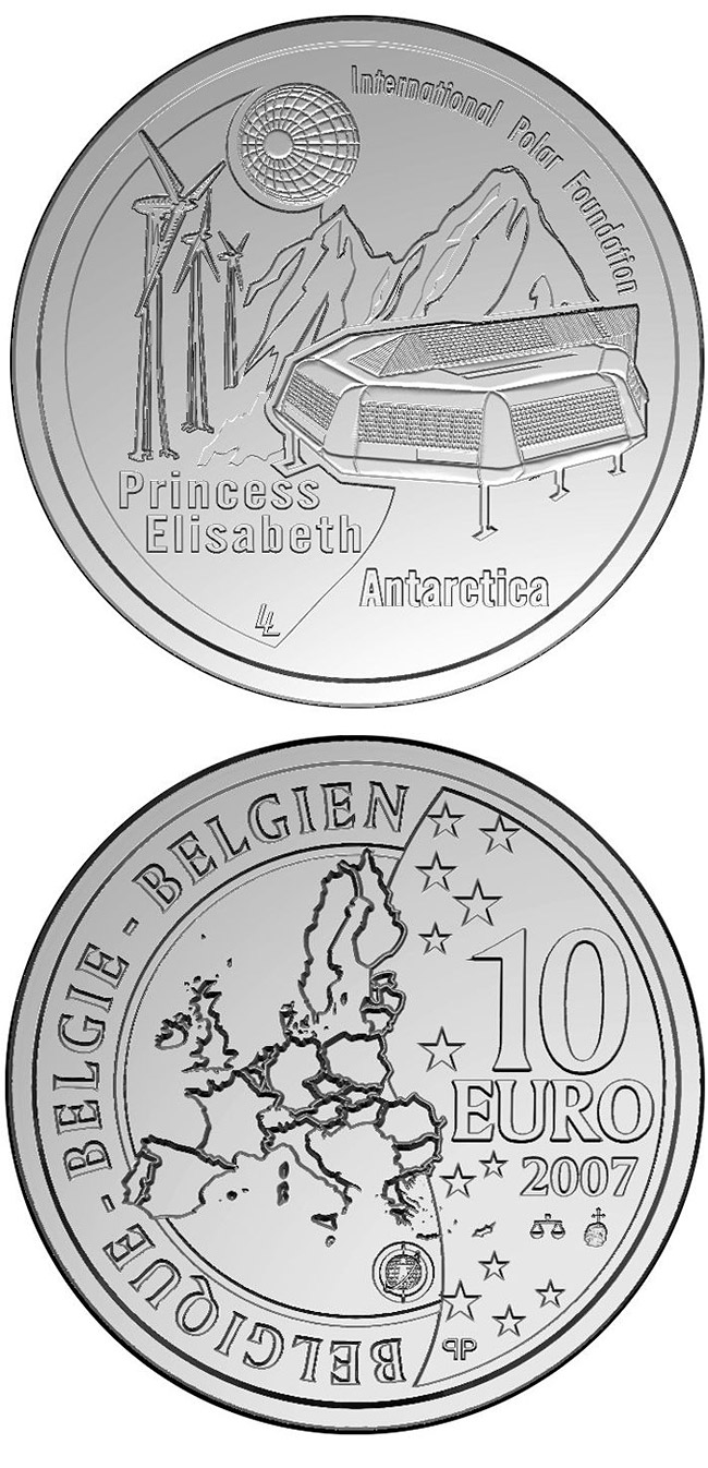 Image of 10 euro coin 4. International Polar Year | Belgium 2007.  The Silver coin is of Proof quality.
