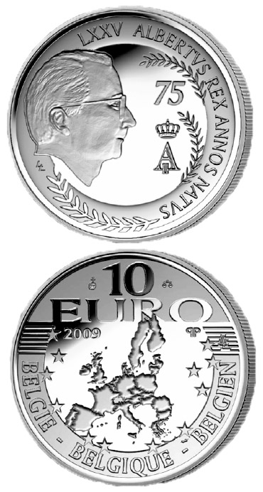 Image of 10 euro coin – 75. birthday of König Albert II. | Belgium 2009.  The Silver coin is of Proof quality.