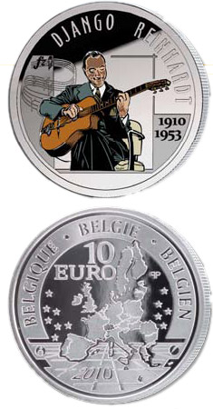 Image of 10 euro coin - 100. birthday of of Django Reinhardt | Belgium 2010.  The Silver coin is of Proof quality.