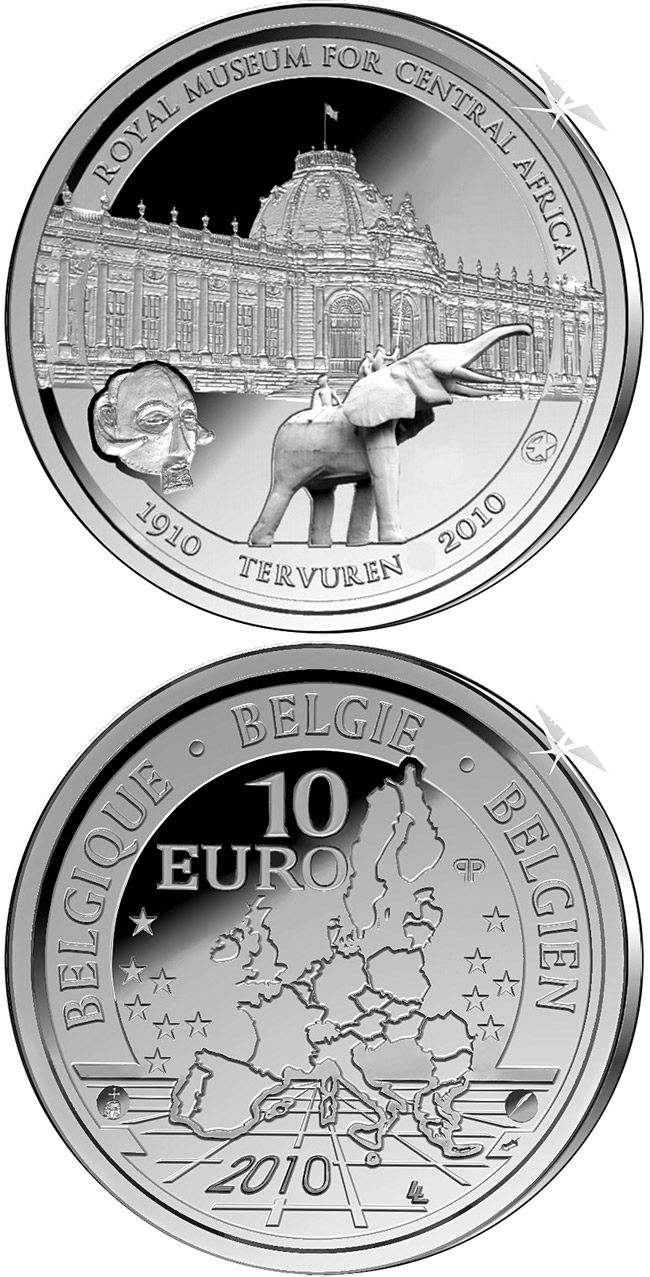 Image of 100 years African Museum – 10 euro coin Belgium 2010.  The Silver coin is of Proof quality.