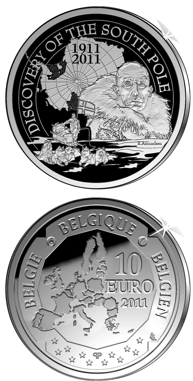 Image of 10 euro coin – Discovery of the South Pole | Belgium 2011.  The Silver coin is of Proof quality.