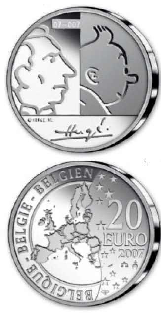 Image of 20 euro coin - 100. birthday of Georges Remi (Hergé)  | Belgium 2007.  The Silver coin is of Proof quality.