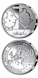 20 euro coin 100. birthday of Georges Remi (Hergé)  | Belgium 2007