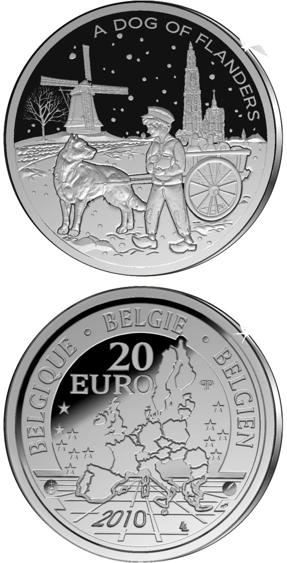 Image of 20 euro coin - A Dog of Flanders  | Belgium 2010.  The Silver coin is of Proof quality.