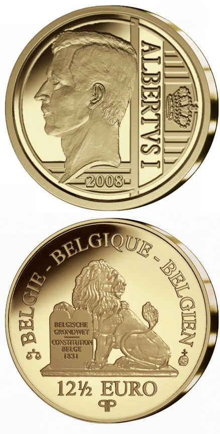 Image of 12.5 euro coin – Albert I. | Belgium 2008.  The Gold coin is of Proof quality.