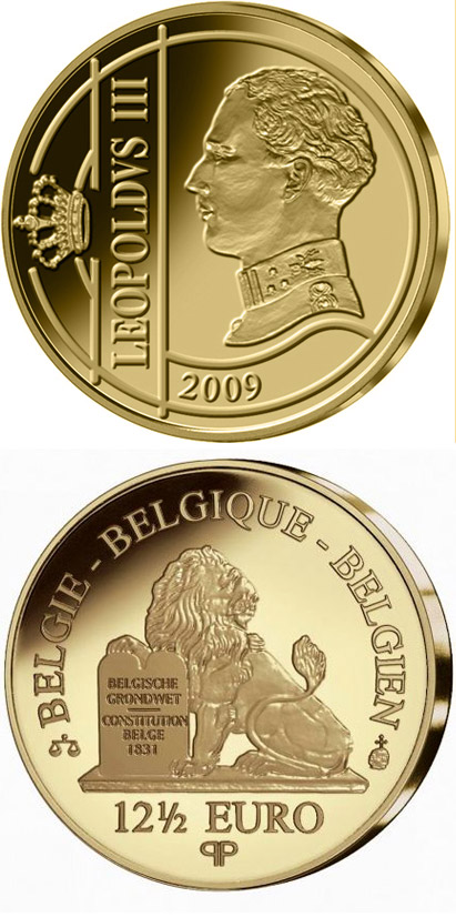 Image of 12.5 euro coin – Leopold III. | Belgium 2009.  The Gold coin is of Proof quality.