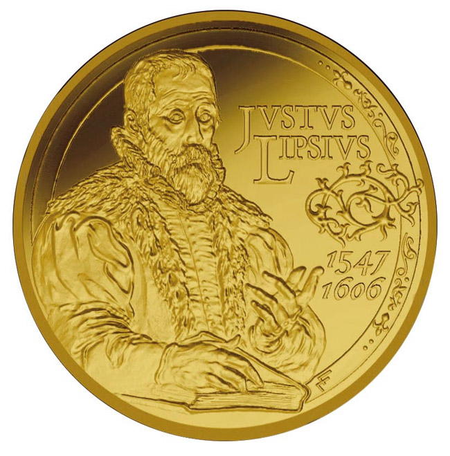 Image of 50 euro coin - 400. anniversary of the death Justus Lipsius | Belgium 2006.  The Gold coin is of Proof quality.