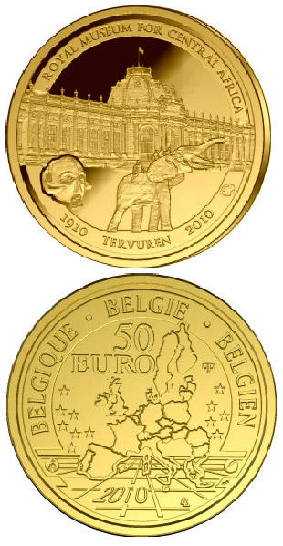 Image of 50 euro coin – 100 years African Museum | Belgium 2010.  The Gold coin is of Proof quality.