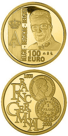 Image of 100 euro coin - 200 years French franc - Franc Germinal | Belgium 2003.  The Gold coin is of Proof quality.