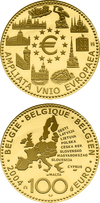 Image of 100 euro coin - Enlargement of the European Union | Belgium 2004.  The Gold coin is of Proof quality.