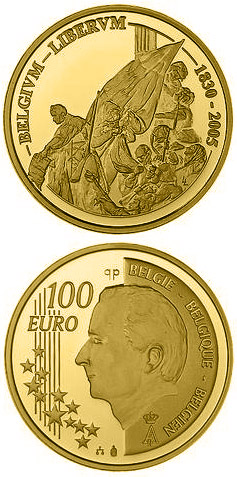 Image of 100 euro coin 175 years Independence | Belgium 2005.  The Gold coin is of Proof quality.