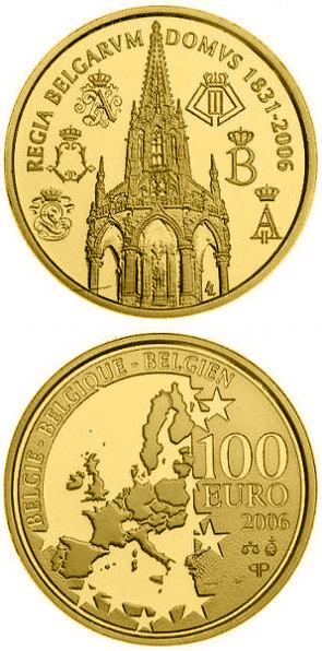 Image of 100 euro coin - 175 years Dynasty | Belgium 2006.  The Gold coin is of Proof quality.