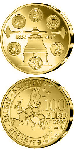 Image of 100 euro coin 175 years Coinage | Belgium 2007.  The Gold coin is of Proof quality.