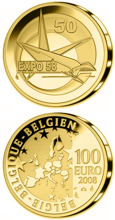 Image of 100 euro coin - 50. Anniversary World EXPO in Brussels | Belgium 2008.  The Gold coin is of Proof quality.