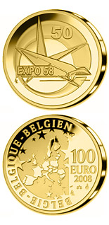 100 euro 50. Anniversary World EXPO in Brussels - 2008 - Series: Gold 100 euro coins - Belgium