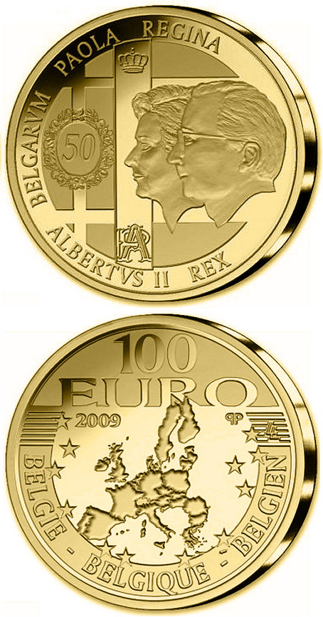 100 euro 50. Wedding day König Albert II. and Queen Paola - 2009 - Series: Gold 100 euro coins - Belgium