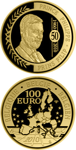 Image of a coin 100 euro | Belgium | 50. birthday of Philipp of Belgium | 2010