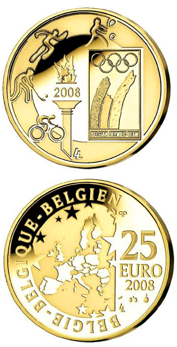 Image of 25 euro coin – Beijing Summer Olympics 2008  | Belgium 2008.  The Gold coin is of BU quality.