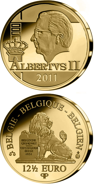 Image of 12.5 euro coin - King Albert II. | Belgium 2011.  The Gold coin is of Proof quality.