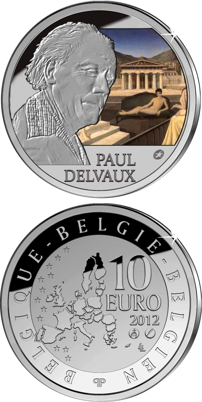 Image of 10 euro coin - Paul Delvaux | Belgium 2012.  The Silver coin is of Proof quality.