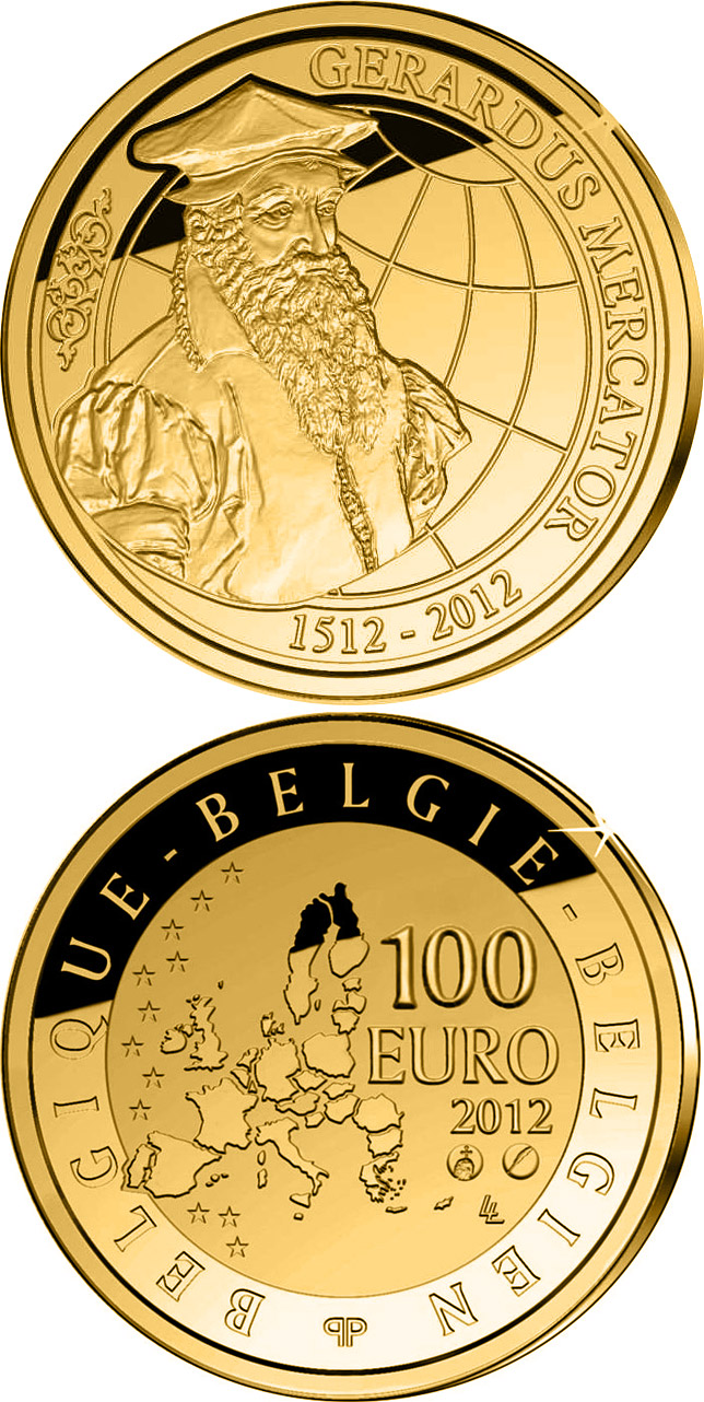 Image of 100 euro coin – 500th Anniversary of the death of Gerardus Mercator | Belgium 2012.  The Gold coin is of Proof quality.