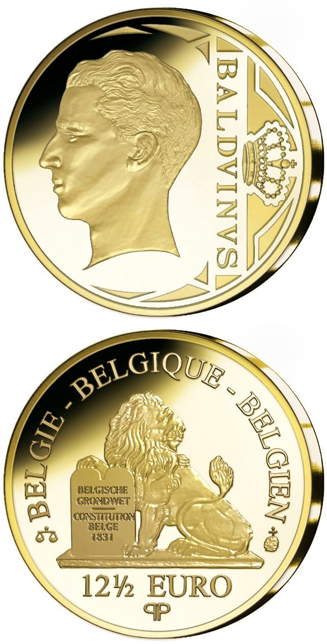 Image of 12.5 euro coin - King Baldwin | Belgium 2010.  The Gold coin is of Proof quality.