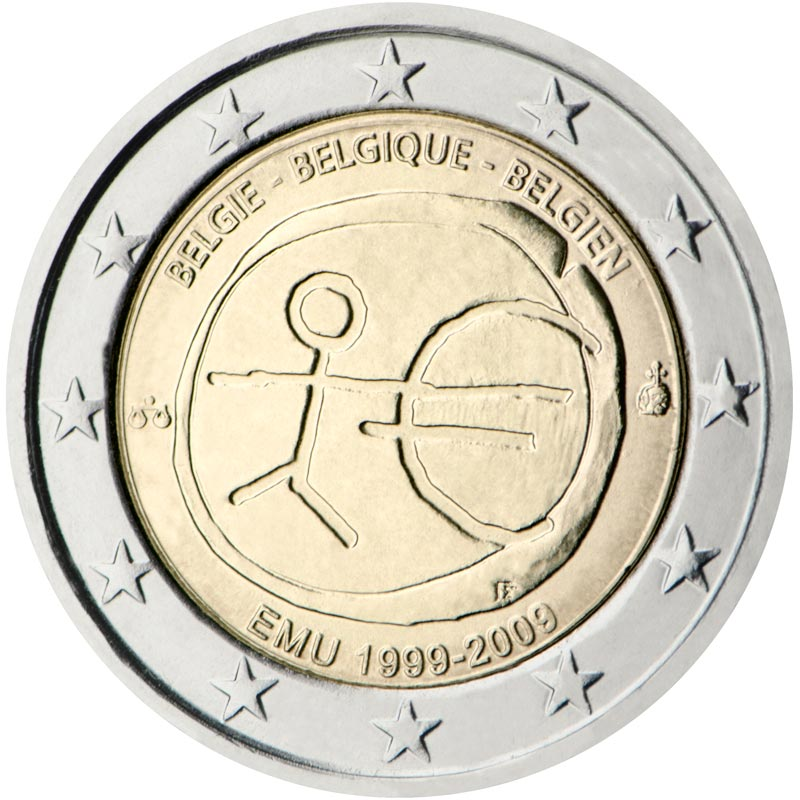 Image of 2 euro coin - 10th Anniversary of the Introduction of the Euro | Belgium 2009