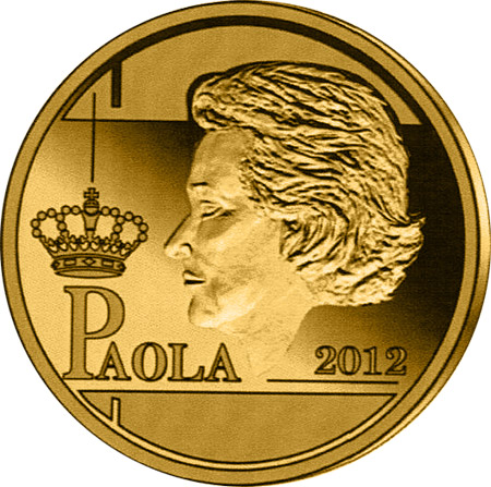 Image of 12.5 euro coin - Paola Ruffo di Calabria | Belgium 2012.  The Gold coin is of Proof quality.