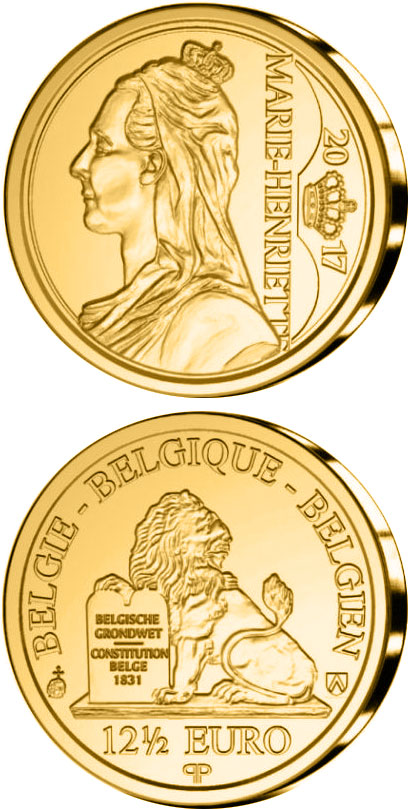Image of 12.5 euro coin - Marie Henriette of Austria | Belgium 2017.  The Gold coin is of Proof quality.