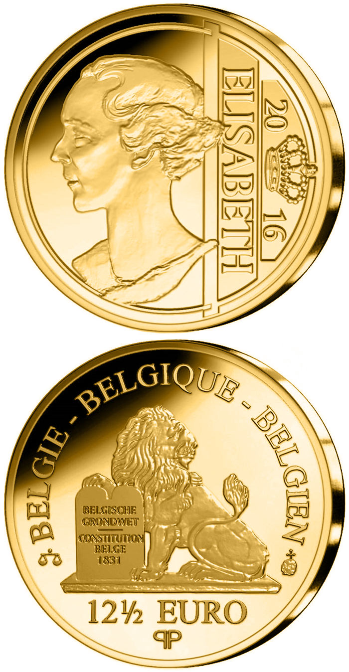 Image of 12.5 euro coin - Elisabeth Gabriele Valérie Marie, Duchess in Bavaria  | Belgium 2016.  The Gold coin is of Proof quality.