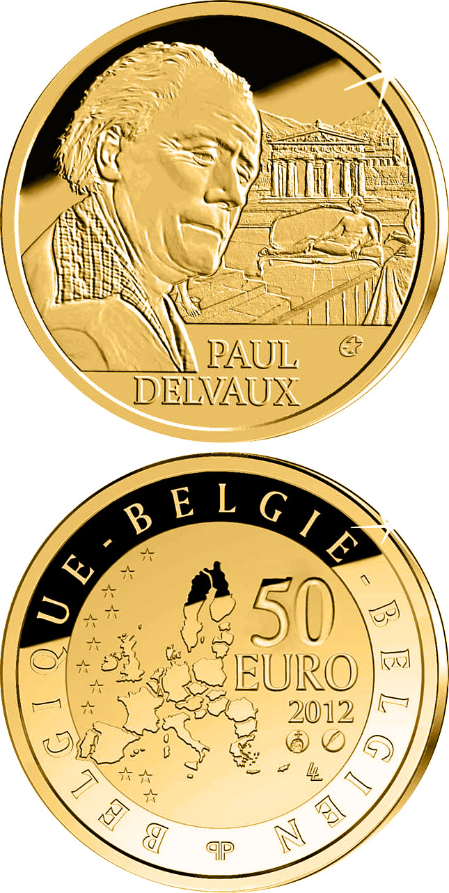 Image of a coin 50 euro | Belgium | Paul Delvaux | 2012