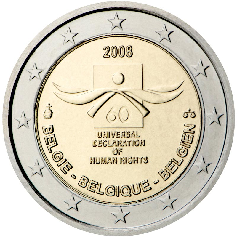 Image of 2 euro coin - 60th anniversary of the Universal Declaration of Human Rights | Belgium 2008