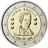 2 euro coin 200th Anniversary of birth of Louis Braille | Belgium 2009