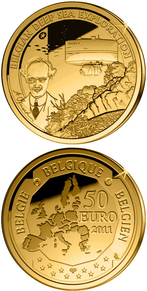 Image of 50 euro coin – Belgian Deep Sea Exploration | Belgium 2011.  The Gold coin is of Proof quality.