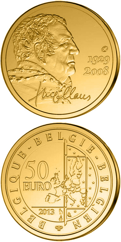 Image of 50 euro coin - Hugo Claus | Belgium 2013.  The Gold coin is of Proof quality.