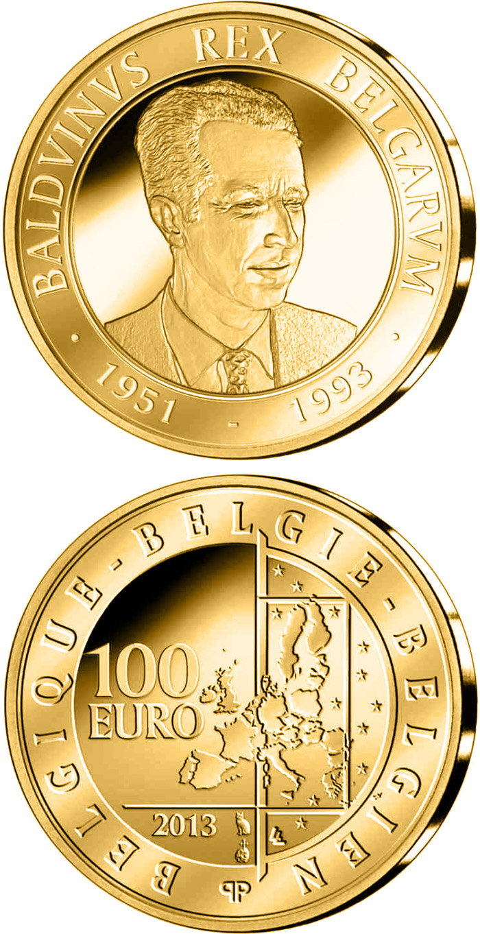Image of 20th Aniversary of the Death of King Boudewijn – 100 euro coin Belgium 2013.  The Gold coin is of Proof quality.