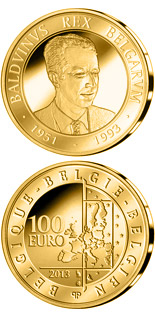 100 euro 20th Aniversary of the Death of King Boudewijn - 2013 - Series: Gold 100 euro coins - Belgium