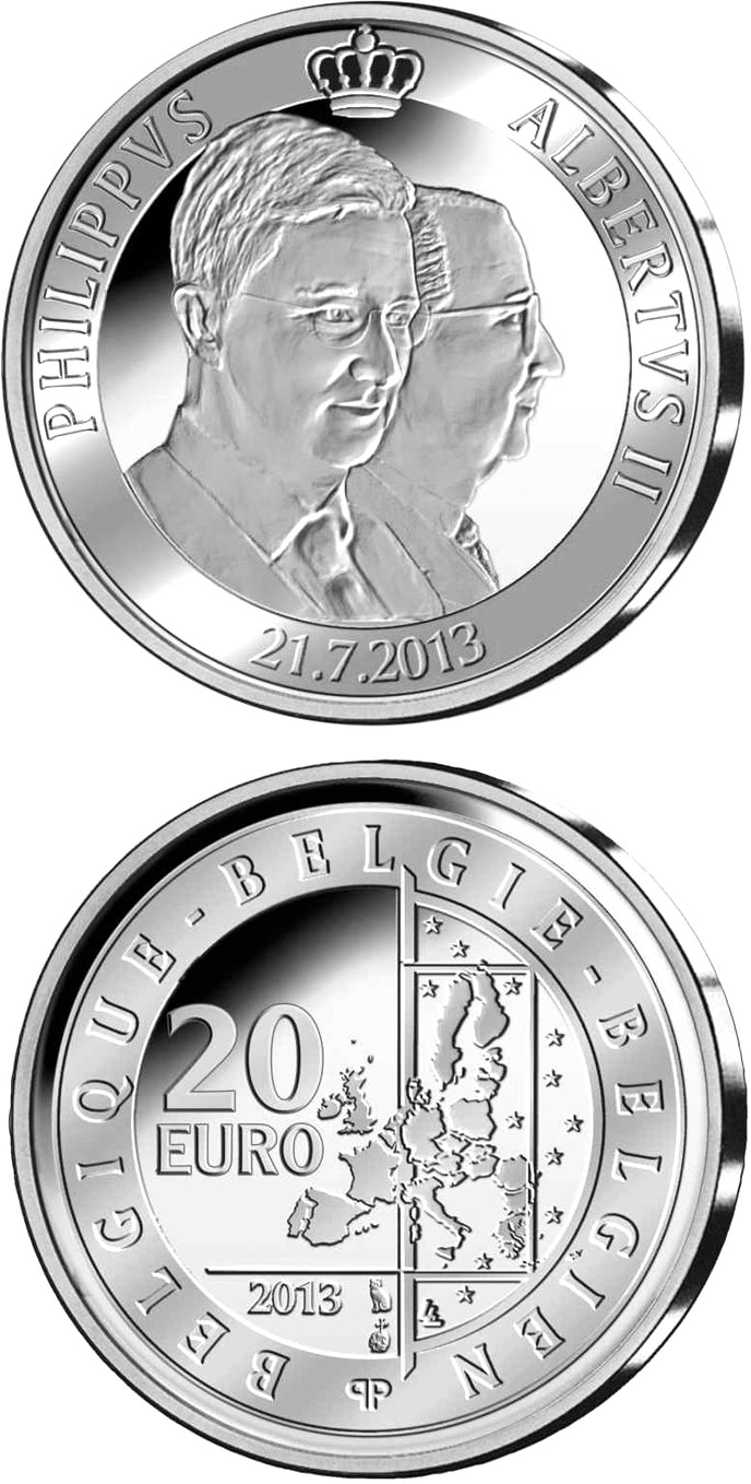 20 euro King Albert II and prince Philippe - 2013 - Series: Silver 20 euro coins - Belgium