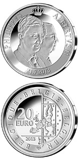 20 euro coin King Albert II and prince Philippe | Belgium 2013