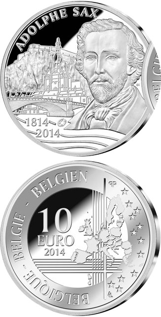 10 euro 200th Anniversary of the Birth of Adolphe Sax - 2014 - Series: Silver 10 euro coins - Belgium
